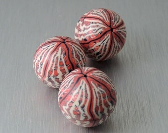 Red, Blue, and Cream Polymer Clay Beads - Multicolored Stripe Beads - Round Polymer Clay Beads - Set of 3