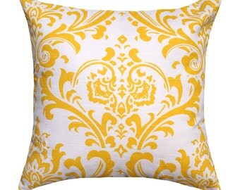 14 Sizes Available Throw Pillow Cover, Decorative Pillow, Yellow Pillow, Damask Pillow, Yellow Damask Pillow, Traditions Yellow Throw Pillow