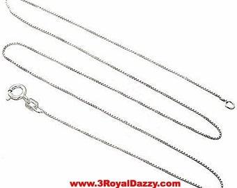 "Italian Solid Anti Tarnish .925 sterling silver box link chain - 1.25 mm 22 """