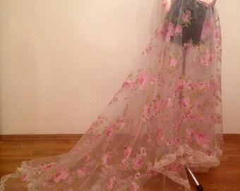 Floral organza wedding skirt, floral overskirt, wedding skirt,  detachable wedding skirt, detachable tulle skirt, wedding dress.