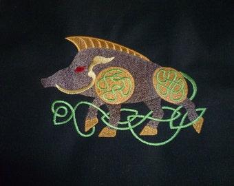 Wild Boar Messenger Bag Embroidered LARP Goth Cetic Knotwork