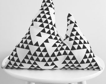 Mountain Decorative Pillow Nursery Decor Kids Room Black and White Geometrical
