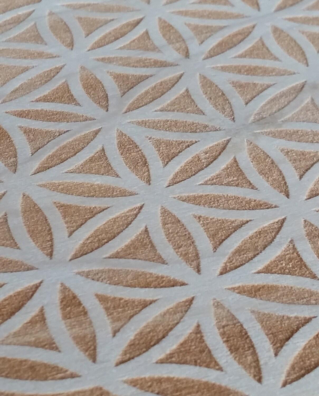Flower of Life crystal grid, 7 inch round, solid Poplar wood