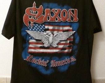 "Saxon-""Rocking America"" tour t.shirt-size L-British Heavy Metal"