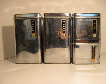 Vintage Lincoln BeautyWare Canister Set Four Chrome Canisters Kitchen Storage