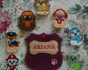 Rescue pups Finger Puppets and Carrying Case  * Price Reduction *