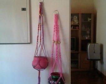 Free shipping -Set of 2 Polycord macrame plant hanger,hanging planter indoor/outdoor,bird feeder,pink/purple pot holders.garden decor.