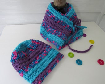 Girl Slouchy Beanie and Scarf/Girl Slouchy Beanie/Girl Scarf/Girl Cowl/Girl Beanie Set/Girl Gift/Crocheted Hat and Scarf Set/Ready to Ship