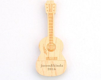 Father's day Gift-Wooden USB 8GB with Magnet- Personalized Unique Guitar USB Drive8Gb USB Flash Drive with Wooden Box,Gift For Her