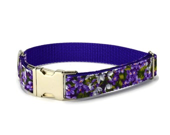 Purple Floral Dog Collar, Purple Dog Collar, Floral Dog Collar, Fall Dog Collar, Autumn Dog Collar, Girl Dog Collar, Large Dog Collar