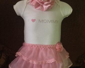 I love Mommy Onesie with tutu skirt **tutu**baby girl