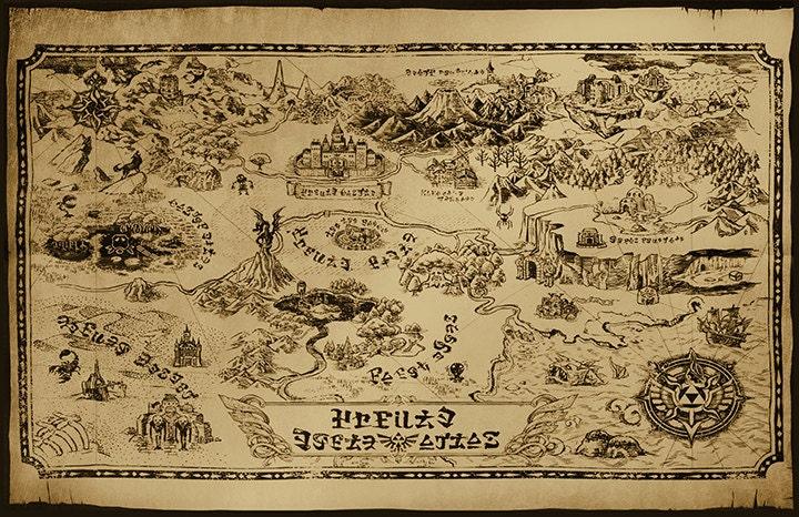 Zelda Hyrule Map Art Print Poster