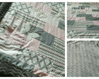 Pink & Grey baby quilt