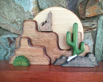 southwestern decor wooden southwestern art desert scene ready to ship wooden home - Southwestern Decor