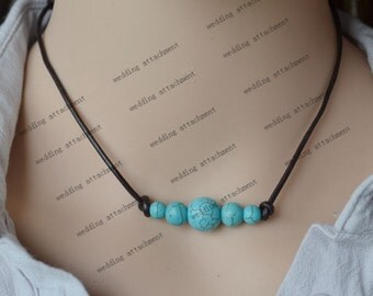 five turquoise necklace, turquoise leather necklace, leather turquoise necklace, five tuquoise leather choker,turquoise bead leather jewelry