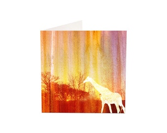 Sunset Giraffe Greeting Card