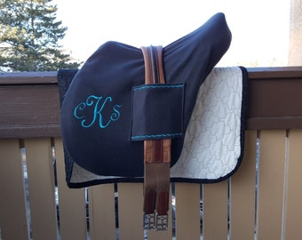 Deluxe English Saddle Cover with Handy Girth Sleeves. Fits BOTH Hunt Seat and Dressage!