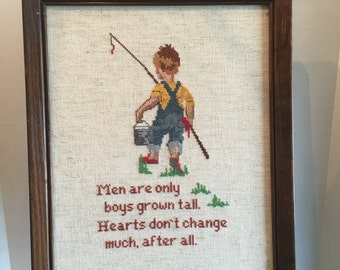 Vintage Needle Point Picture with Little Boy Gone Fishing