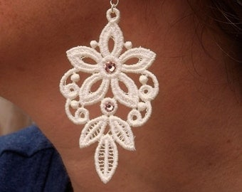Embroidered Lace Bridal Earrings Style 8