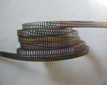1 Meter 5mm Flat leather cord , Navy base Silver gold mixed 5x2mm snake flat PU Leather cords