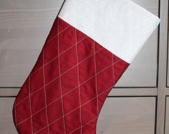 Classic Christmas stocking - red and cream
