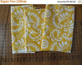 On sale Destash- 3 Pieces of Yellow And White Quilter's Cotton Fabric Remnants