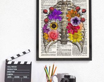 Anatomical Art, Flower Anatomy, Anatomical Print, Human Anatomy, Rib Cage with Flowers Print, Anatomical Art Print, Wall Art Print, 475