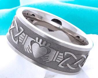 Titanium Claddagh Ring Irish Celtic Titanium Wedding Band Promise Anniversary Celtic Claddagh Comfort Fit Band Mens Womens Ring Sizes 4-16