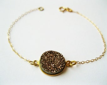 Rose gold druzy bracelet, dainty gold bracelet, druzy bracelet, minimalist jewelry , minimalist bracelet, dainty bracelet