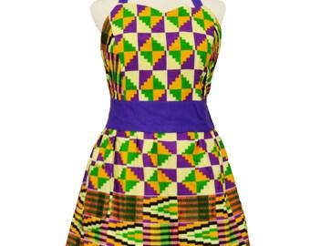 Plus Size Kente Border Print Apron, Nwentom, Purple Green & Yellow, Plus Size Apron, Plus Size Clothing, Gift for Women