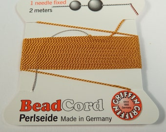 No. 3,4,5,6 or 7 Amber Natural Silk Bead Cord by Griffin with Wire Needle in Sizes 3, 4, 5, and 6