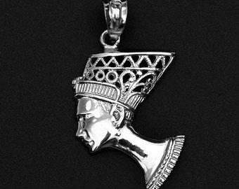 White Gold Queen Nefertiti Filigree Pendant Necklace - Egyptian Egypt Queen Necklace . Queen Nefertiti pendant . Queen Pendant Necklace