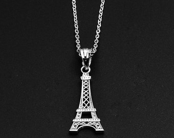 Eiffel Tower Sterling Silver Pendant Necklace . Paris eiffel tower necklace pendant 925 sterling silver Paris France Europe cute Eiffel