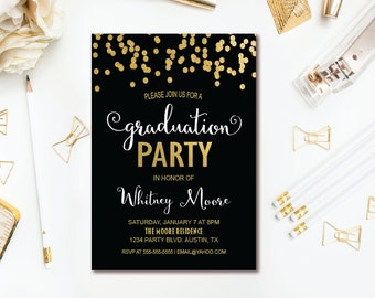 Confetti Graduation Party Invitation - Black, White & Gold Graduation Invitation - Printable Invite