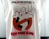 Ghostbusters 2 Original 80's Vintage Transfer on White Sleeveless Tee-Unisex