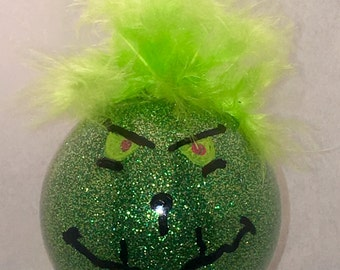 Grinch Ornament - How The Grinch Stole Christmas Ornament - Grinch Glitter Ornament - Dr Seuss Glitter Ornament