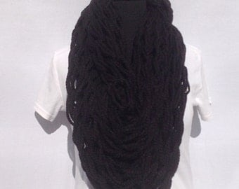 Infinity Scarf in Black (Arm Knitted)