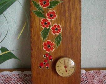 Wall thermometer, hand, red flowers, Vintage painted wood plate