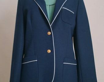 Vintage Navy Blazer - 1970's Preppy Navy and White Jacket - Nautical - Size Medium