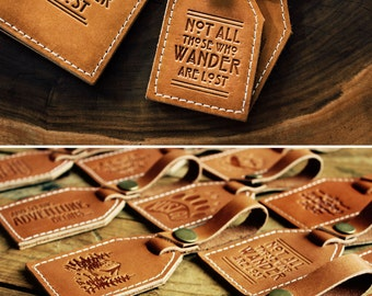 Leather Luggage Tag -- Not All Those Who Wander Are Lost -- HUGE SALE -- only 16 dollars -- LOTR rustic luggage tag