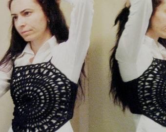 Halter Tops Women's Clothing black cotton crochet Modern crocheted