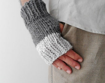 Fingerless gloves mens knit gloves mens arm warmers mittens gloves gray  fingerless mittens boyfriend gift husband gift grandfather gift