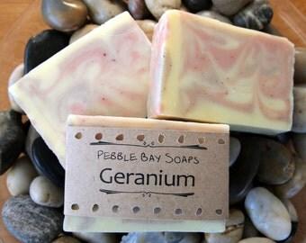 Geranium Soap - Essential Oil Soap - Geranium Lemongrass Soap - Natural Soap - Handmade Soap - Cold Process Soap