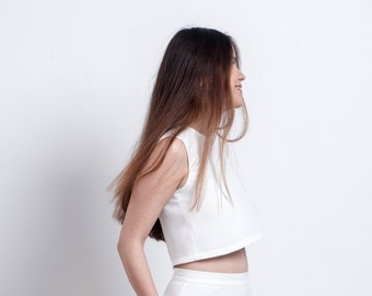 Crop white top , Bridal top, Wedding blouse. White crop shirt, Wedding crop blouse , Crop evening top, Evening top. Boho bride top