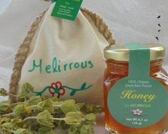 Raw Flower Greek Honey(4.7oz - 134gr)  and Greek Mountain Tea(1oz - 30gr)! Sideritis Tea. A perfect all natural Gift Set!