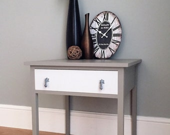 Vintage Wooden Painted Side Table with Drawer - Painted Grey (delivery quote available on request)