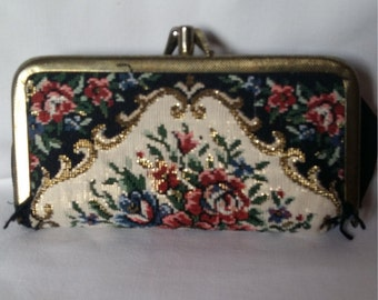 Vintage Gobelin Sewing and Manicure Purse, with Fittings, Germany, 1970s-80s
