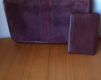 Ladies/vintage/suede/leather/purse/boho/shoulder bag/clutch/wallet/embroidered/plum/chain/lux/mid century/boho chic