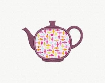 Teapot Applique Machine Embroidery Design - 4 Sizes