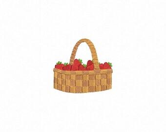 Strawberry Basket Machine Embroidery Design - 1 Size